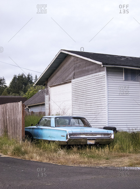 Vintage car parked in an overgrown driveway