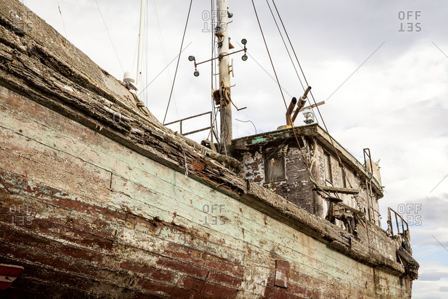 Side of a weathered old fishing ship