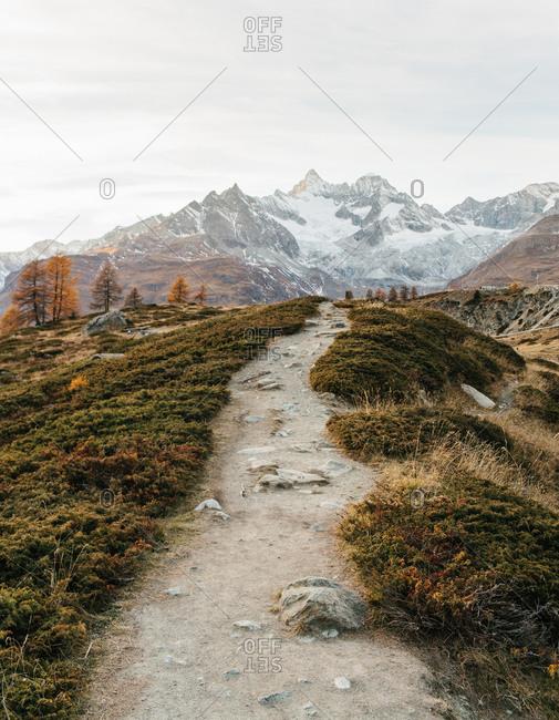 Rocky path along a ridge in rural Switzerland