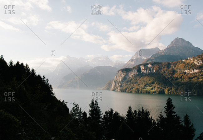 View of a lake in Switzerland at dusk