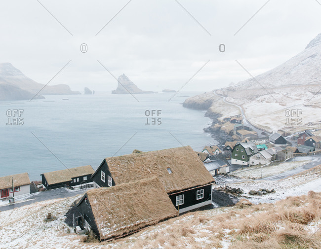 The village of Böur on Vögar island looking across to TindhÐlmur and GöshÐlmur