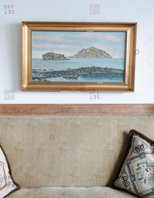 Painting of the Faroe Islands inside a house in Böur