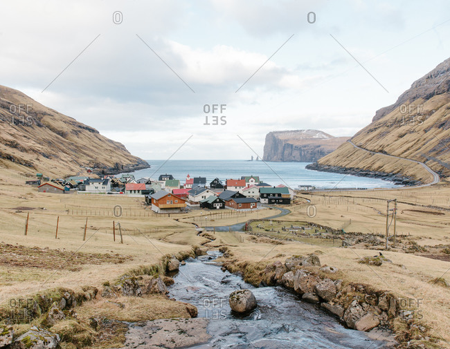 Village on the edge of a bay in the Faroe Islands