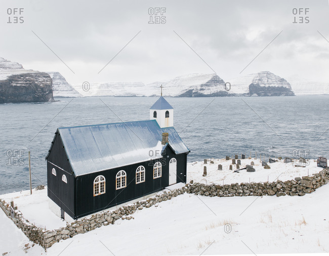 Church in the village of Kirkja in the Faroe Islands