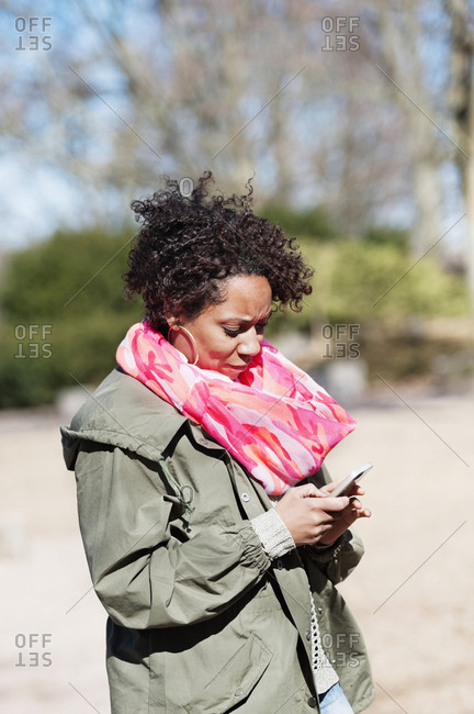 Woman checking cell phone
