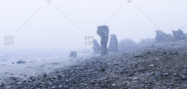 Rocks on beach in fog
