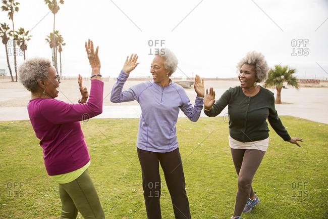 Older African American women cheering in park