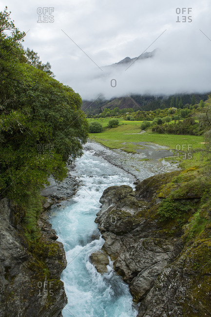 High angle view of river in remote landscape