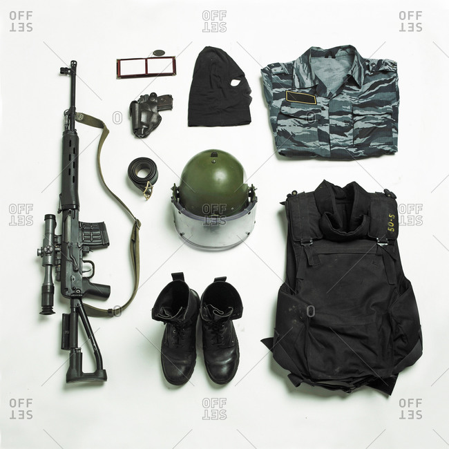 Arranged military uniform and equipment