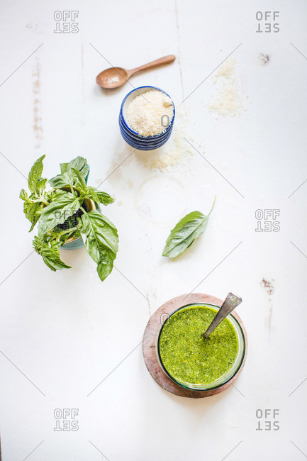 Overhead view of traditional basil pesto ingredients