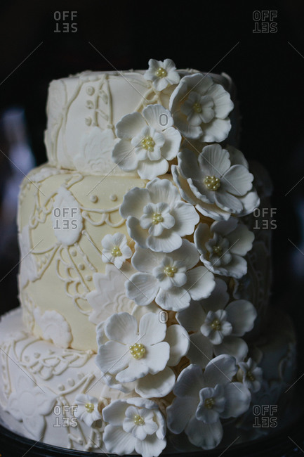 Floral wedding cake in close up