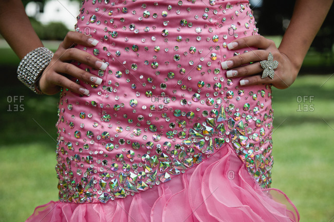 Midsection of a bridesmaid