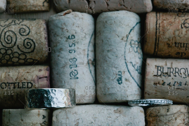 Two wedding bands on corks