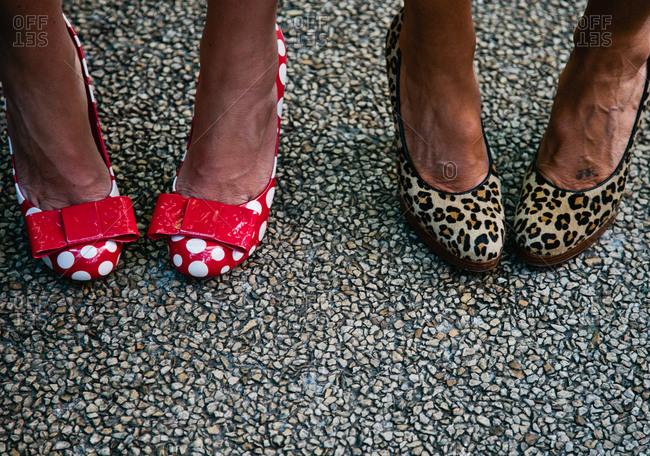 Feet of women in heels