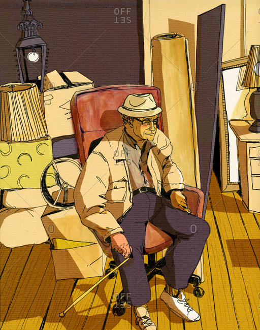 Senior man with cane sitting in chair amidst moving boxes