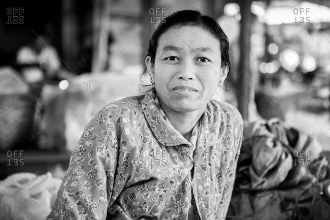 Inle lake, Myanmar - February 1, 2015: Portrait of an Asian woman in black and white