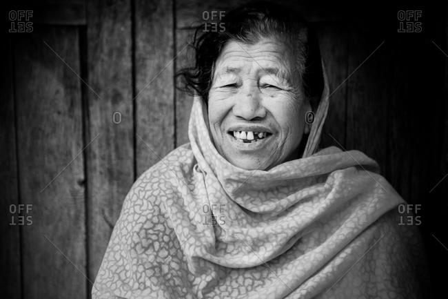 Kathmandu, Nepal - April 13, 2015: Portrait of an older Nepalese woman