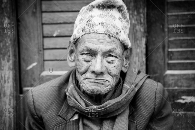 Bhaktapur, Nepal - April 14, 2015: Close up of a senior man