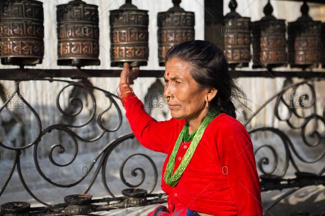Kathmandu, Nepal - April 19, 2015: Woman wearing nose rings and bindi