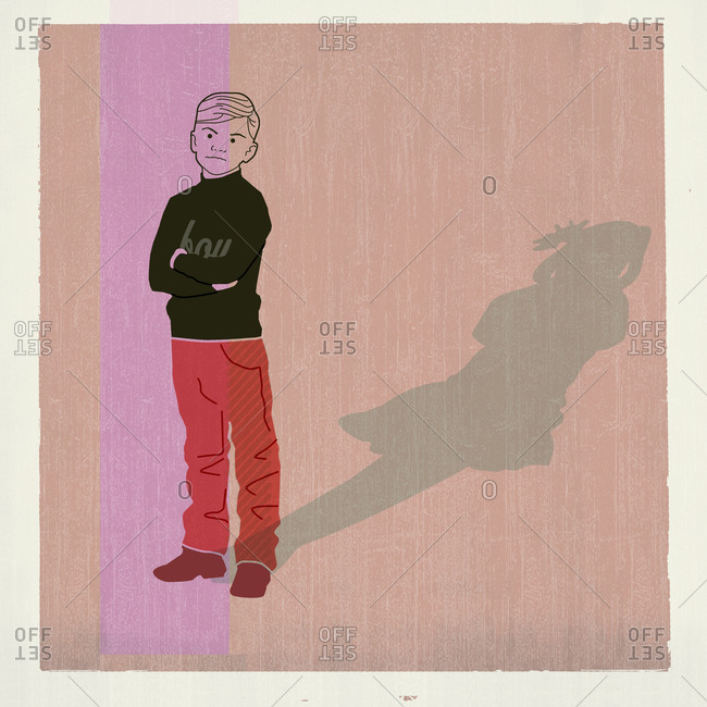 Boy with a shadow of a girl