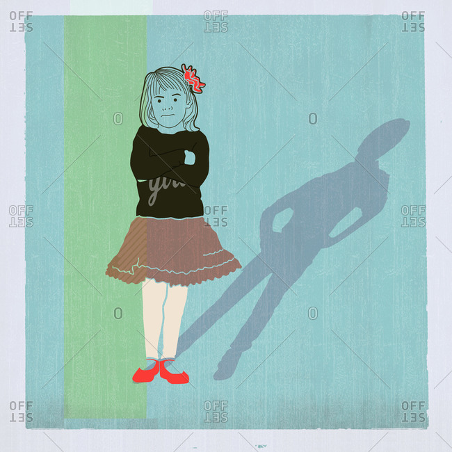 Girl with shadow of a boy