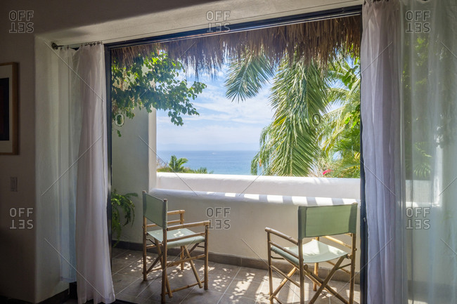 Mexico, Punta de Mita, view to the sea from loggia of a residential home