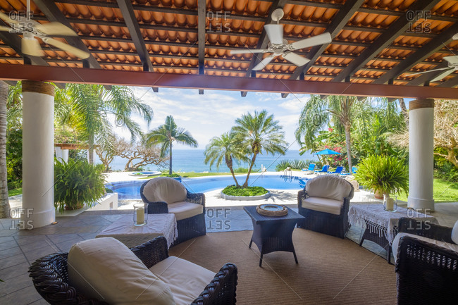 Mexico, Punta de Mita, veranda with   view to the swimming pool and the sea
