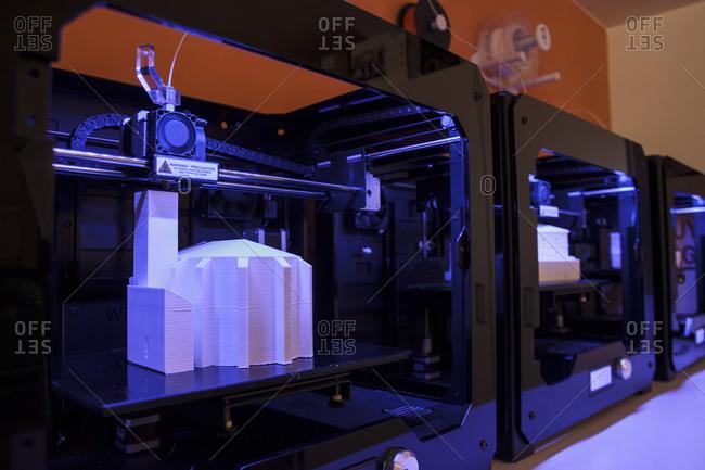 3D models being printed in 3d printers
