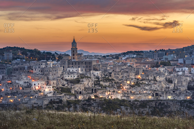 Italy, Basilicata, Matera, Old town, View to Sassi of Matera in the evening