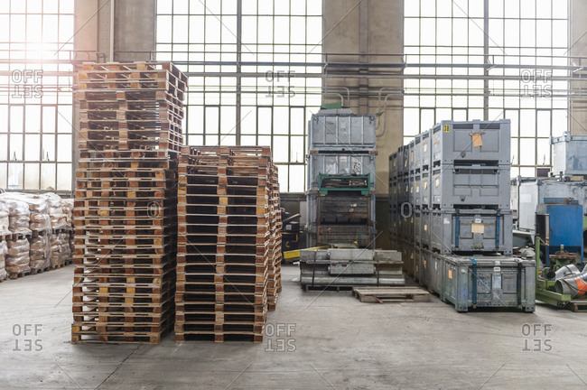 Pallets in factory hall