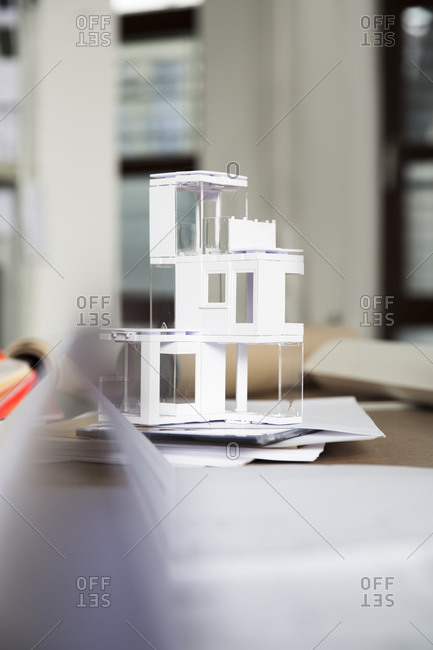 Desktop with architectural model