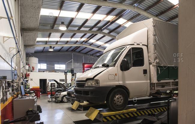 Truck in workshop