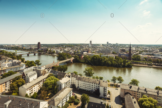 Germany, Hesse, Frankfurt, cityview and Main river