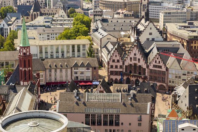 Germany, Hesse, Frankfurt, cityview, Roemerberg with old St Nicholas Church