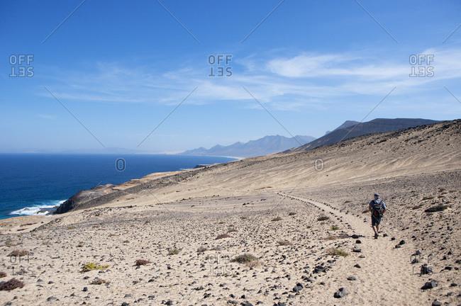Spain, Canary Islands, Fuerteventura, hiking trail to Punta Pesebre