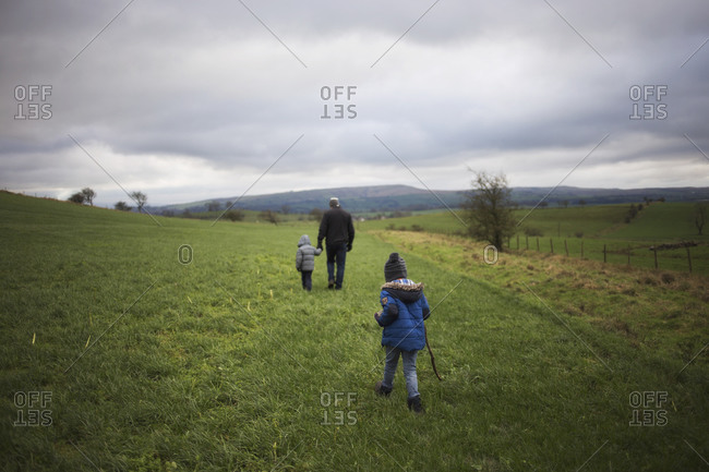 Father and sons walking in a grassy country field