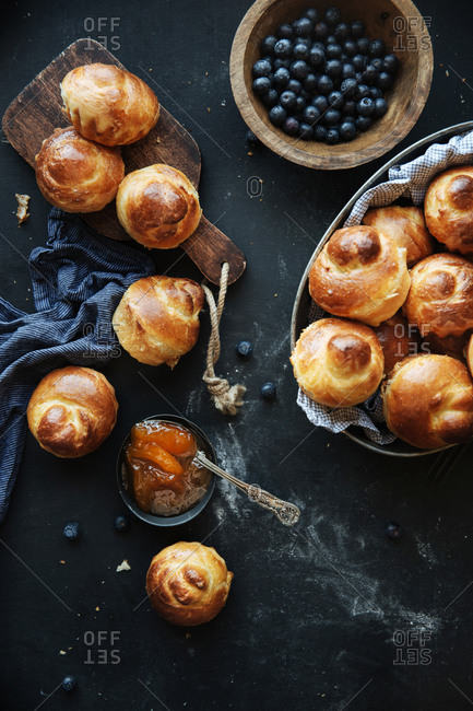Fresh baked brioche, apricot jam and blueberries