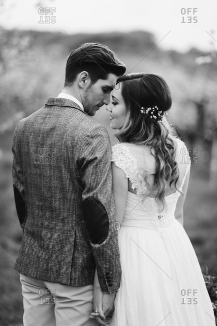 Bride and groom getting ready to kiss