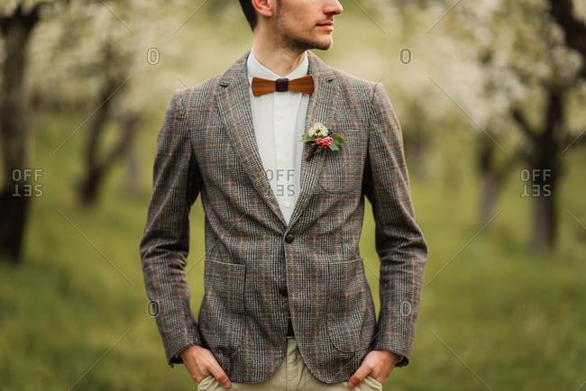 Groom wearing bowtie