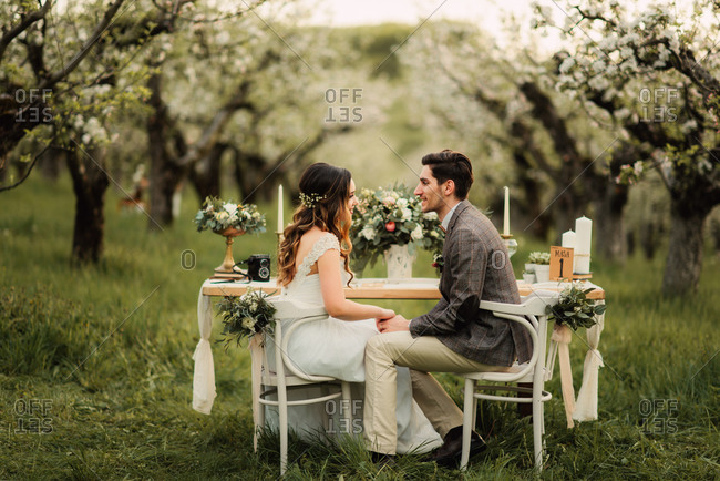 Bride and groom sitting at a wedding table in an orchard