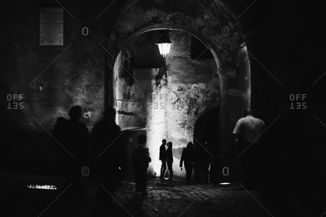 Silhouette of couple standing under an archway