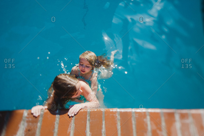 Girls swimming together in pool