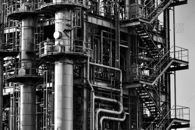 Close-up of a complex system of pipes of an industrial plant in Japan