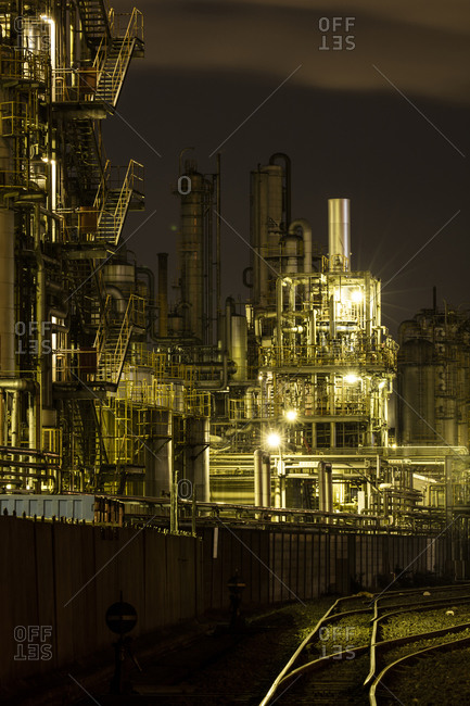 Exterior of an industrial refinery in Japan at night