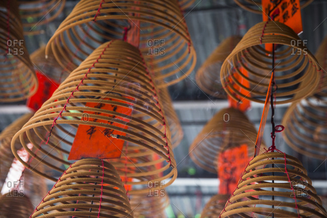Close-up of incense coils burning in Buddhist temple, Hong Kong