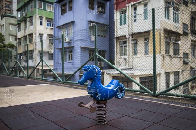 Bouncy seahorse ride at playground in Hong Kong