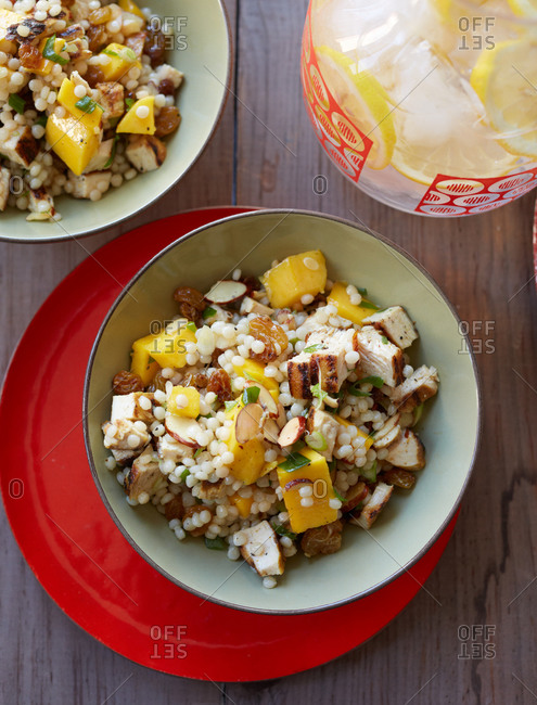 Chicken salad with couscous and mango