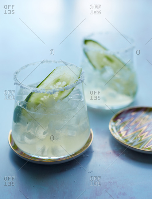Two cucumber martinis