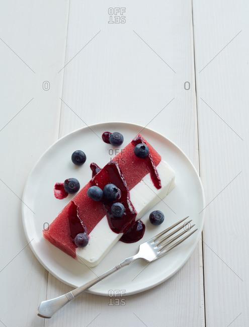 Raspberry-watermelon terrine with blueberry sauce