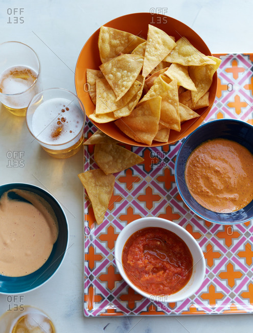 Chips a three different salsas